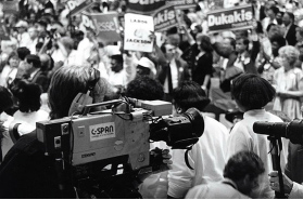 C-SPAN camera in crowd, 1980s